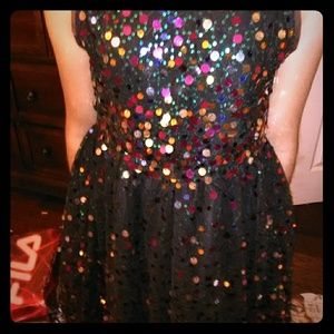 Girls Black sequin Size 7/8 Dress